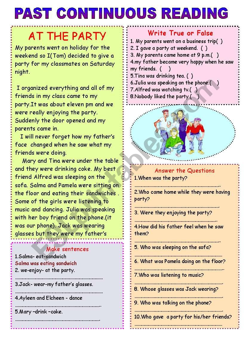 Party at home worksheet