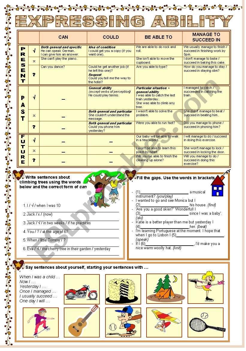 EXPRESSING ABILITY worksheet