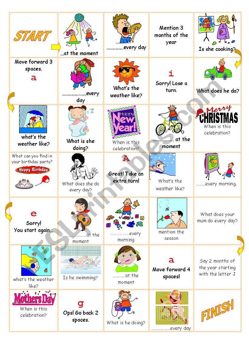 Revision Board Game worksheet