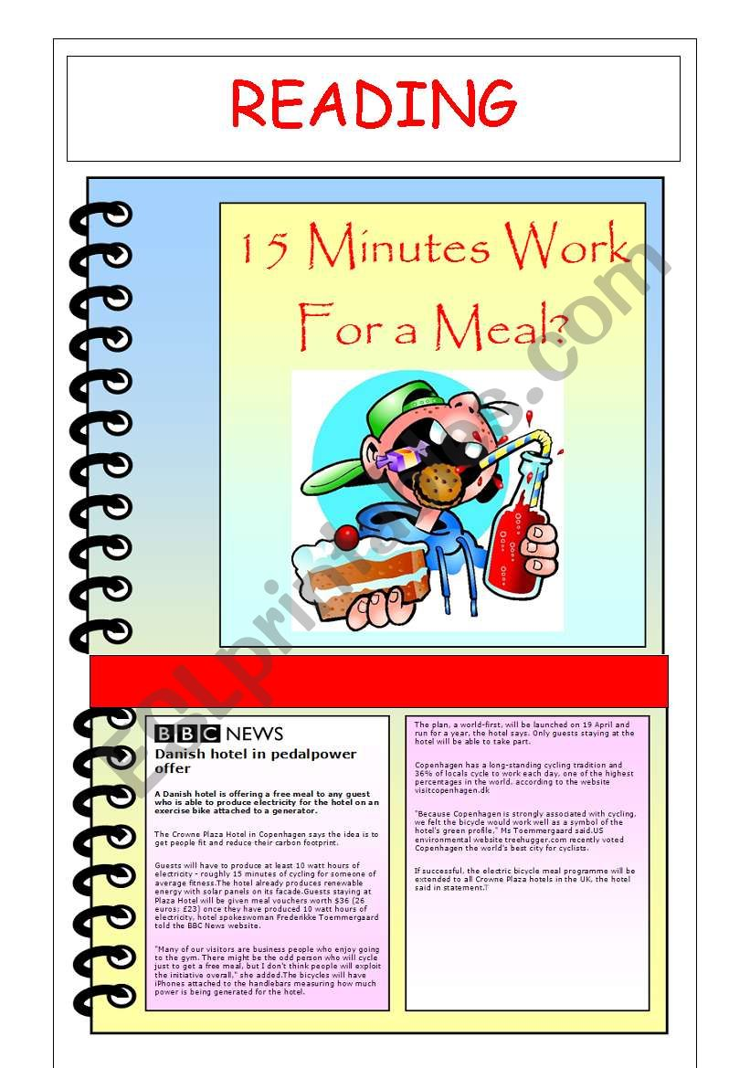 15 MINUTES WORK FOR A MEAL? - ESL worksheet by penn28