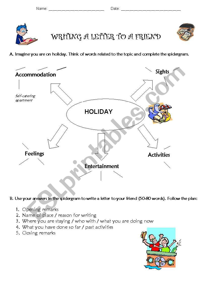 Writing a Letter to a Friend - ESL worksheet by anasantos