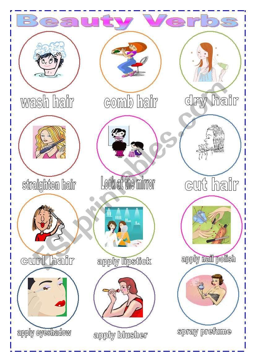 Beauty Verbs worksheet