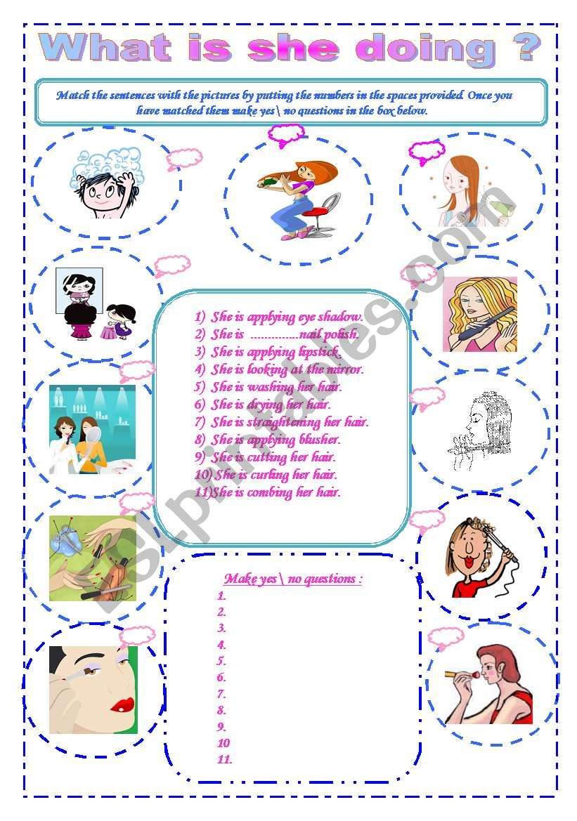 Present continuous ( Beauty Verbs )