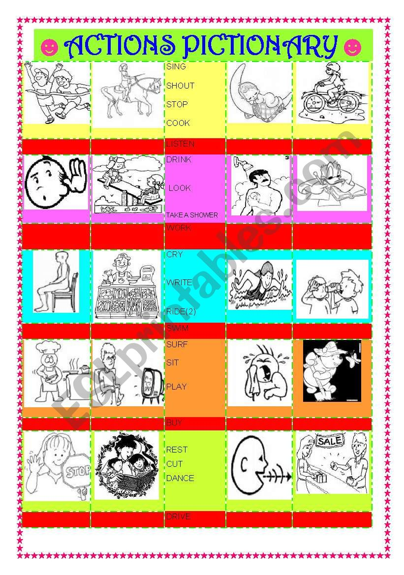 ACTIONS  ( 40 PICTURES ) worksheet