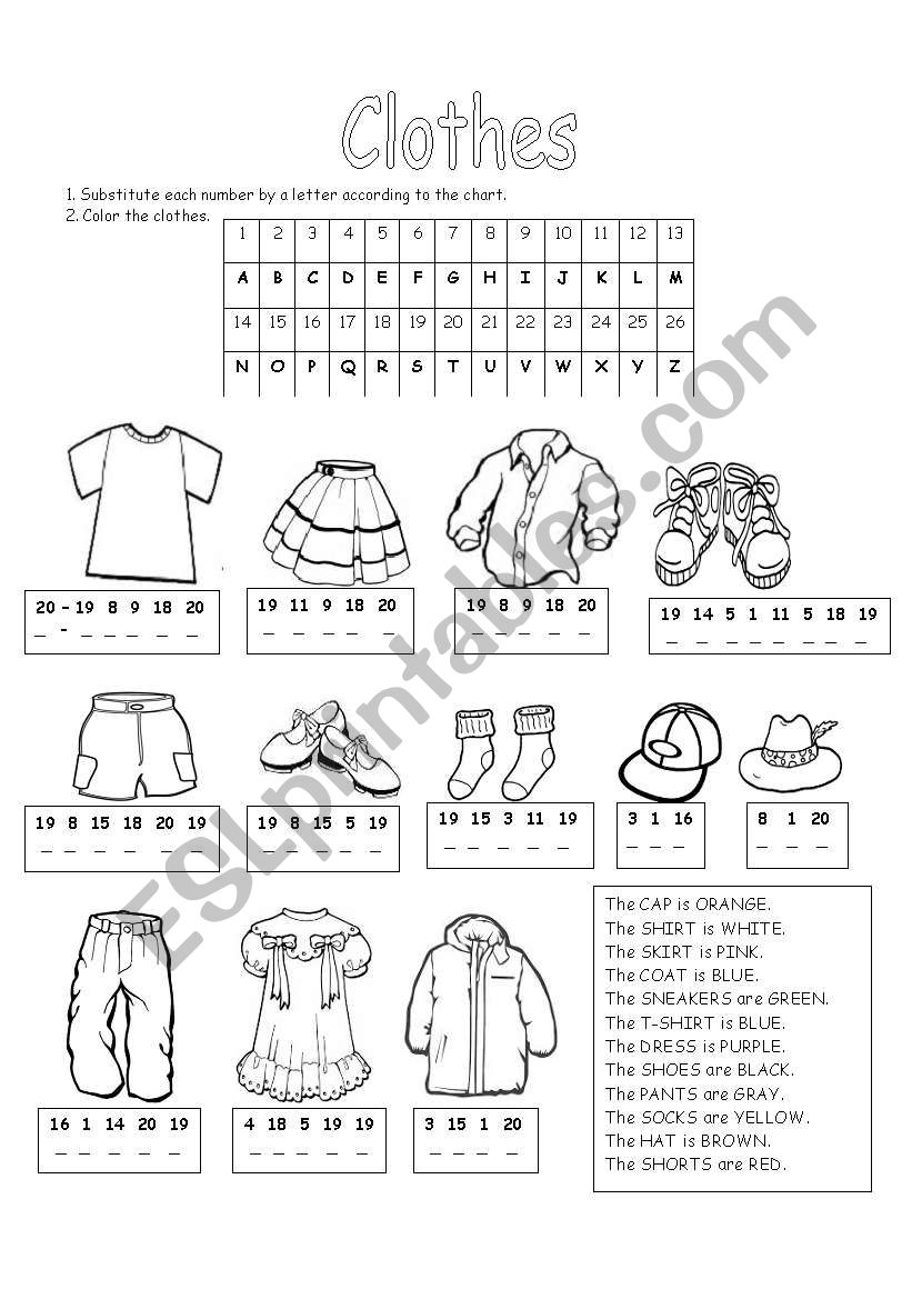 clothes and colors esl worksheet by regina di. Black Bedroom Furniture Sets. Home Design Ideas