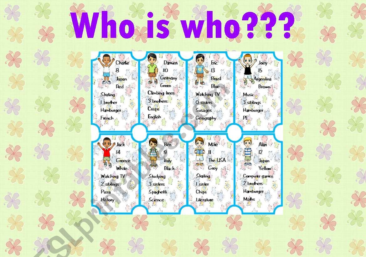 WHO IS WHO??? - game - PART2 worksheet