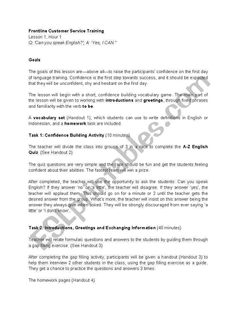 English worksheets: customer service training, lesson 1