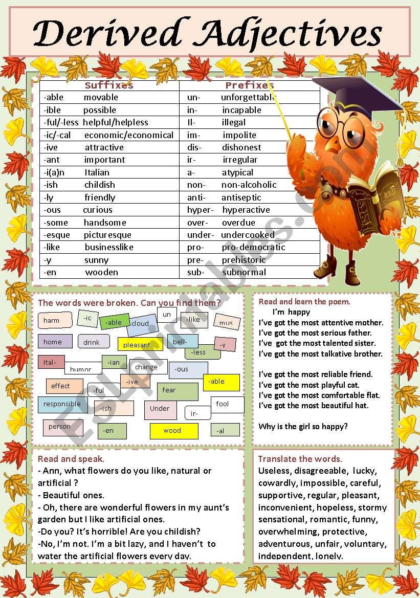 Derived Adjectives worksheet