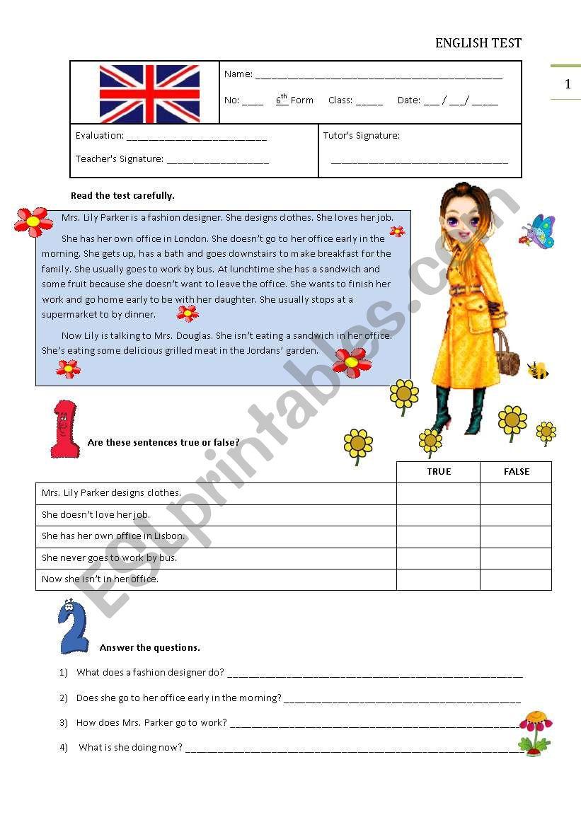 Test A - 6th Grade worksheet