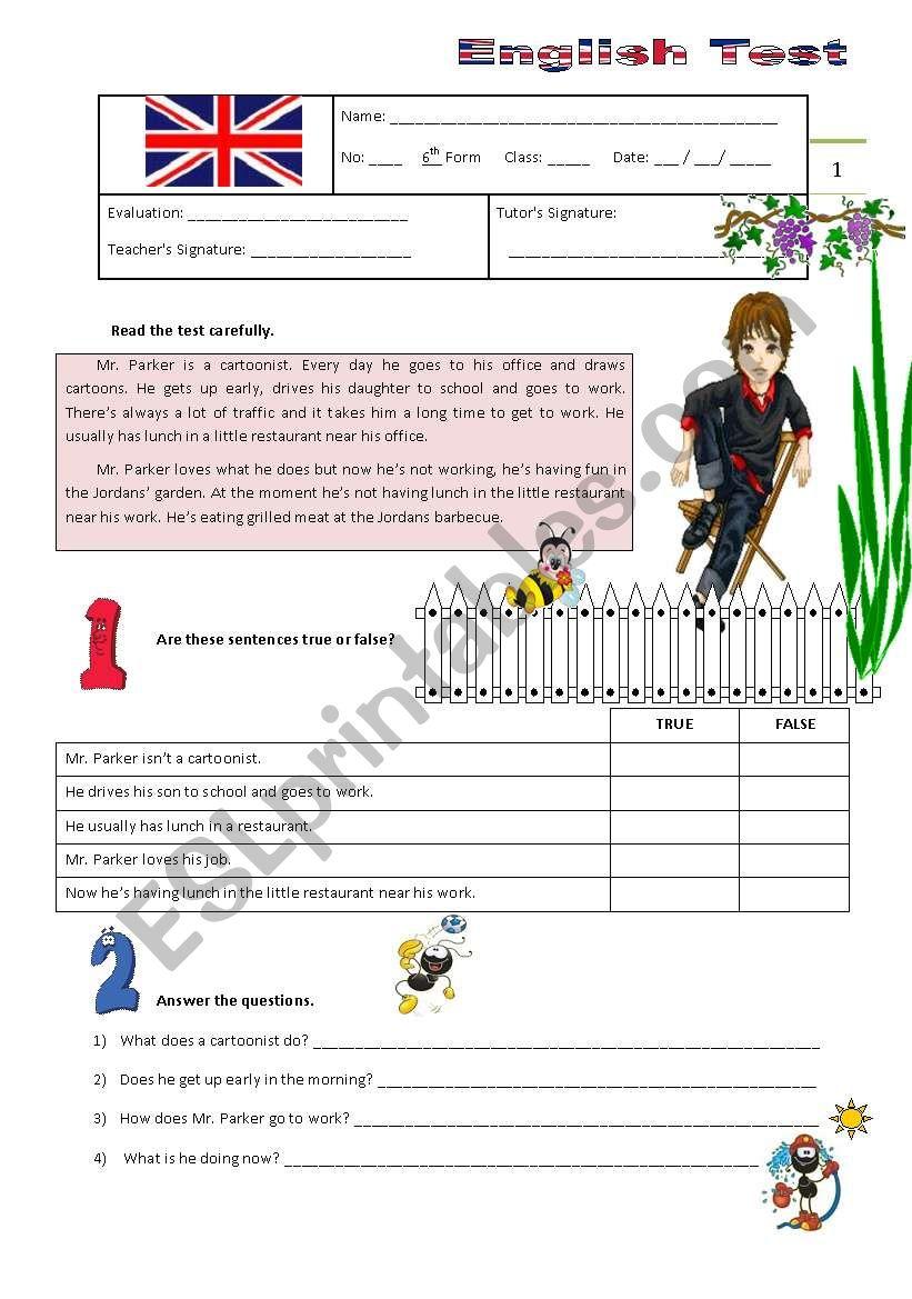 Test B - 6th Grade worksheet