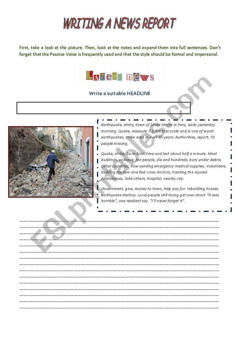 Writing a News Report worksheet