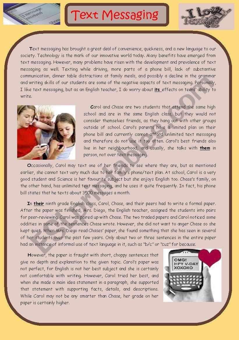 TEXT MESSAGING worksheet