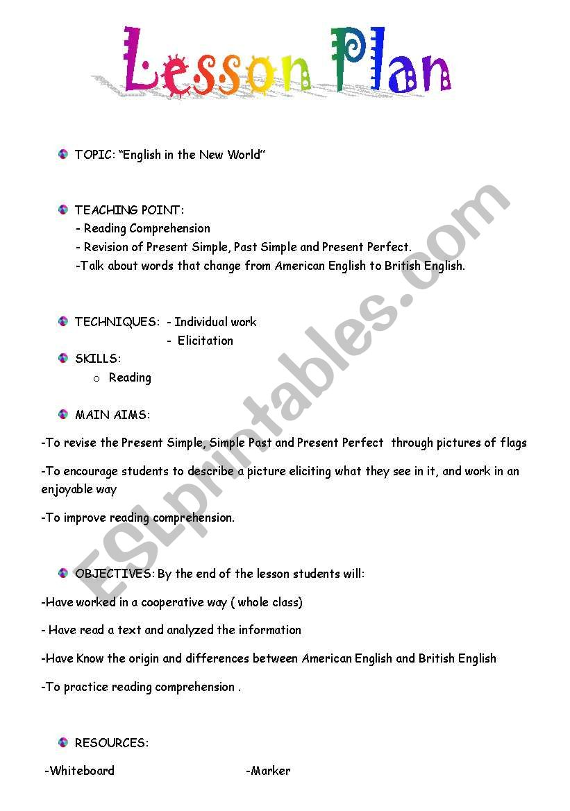 - Lesson Plan And The Activities Of A Reading Activity - ESL