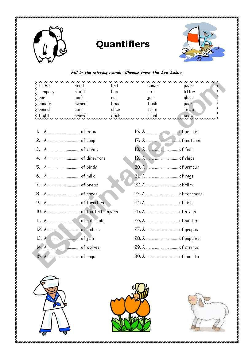 Quantifiers - ESL worksheet by warrior