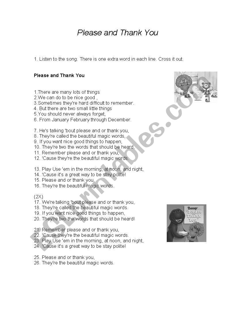 English Worksheets Song Please And Thank You