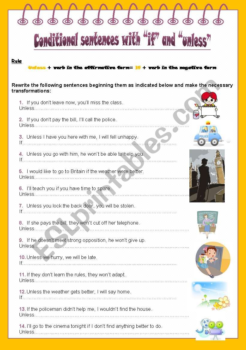 Conditional sentences with if and unless