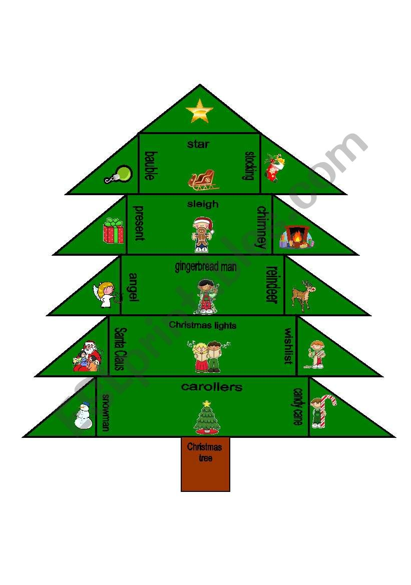Christmas words trimino worksheet