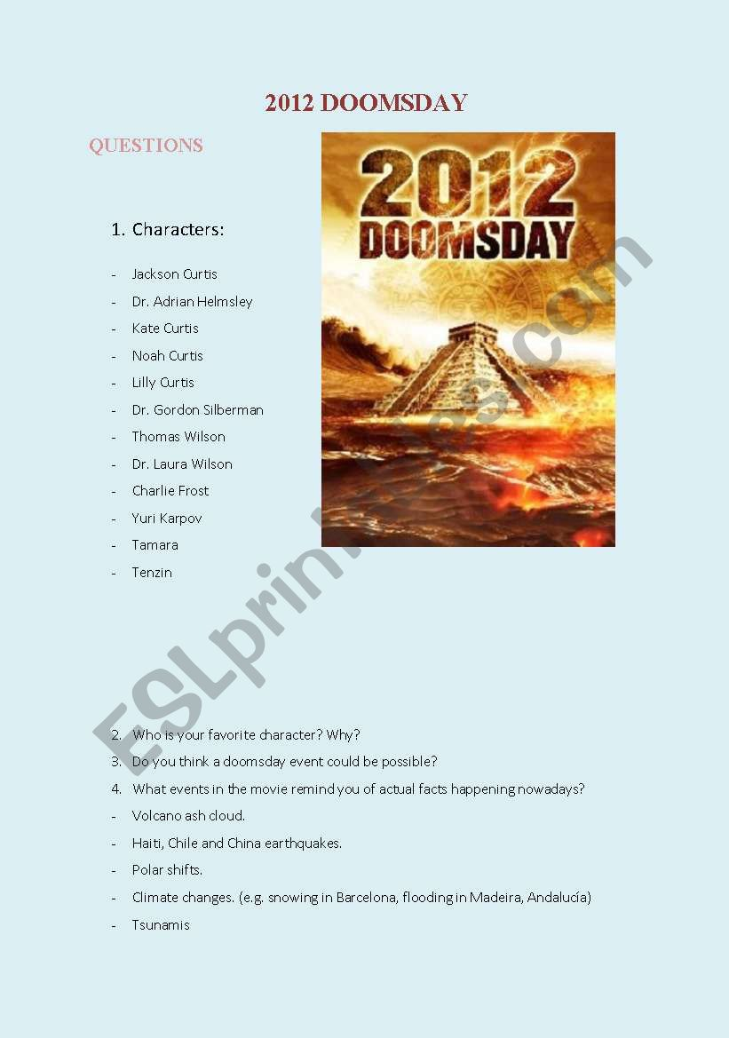 2012 MOVIE worksheet