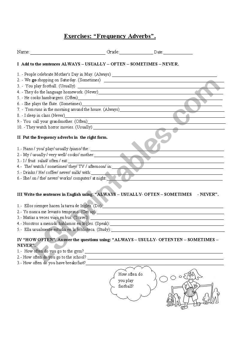 Exercises frequency adverbs worksheet