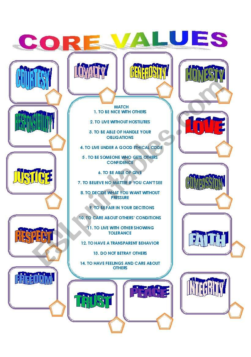Worksheets Core Values Worksheet personal core values esl worksheet by ilona worksheet