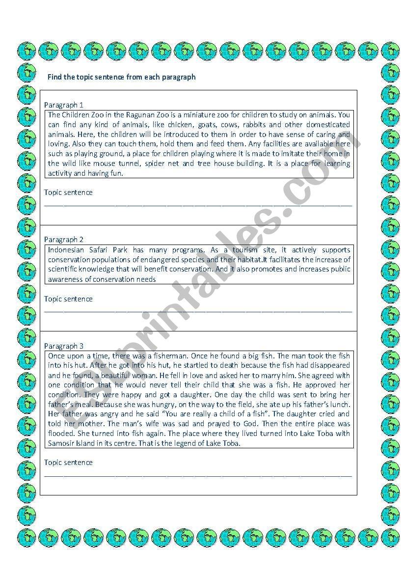 English Worksheets Find The Topic Sentence