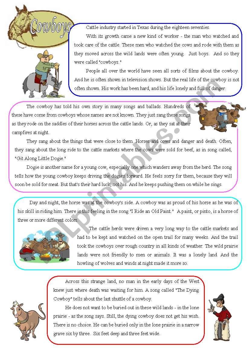 Cowboys - reading worksheet