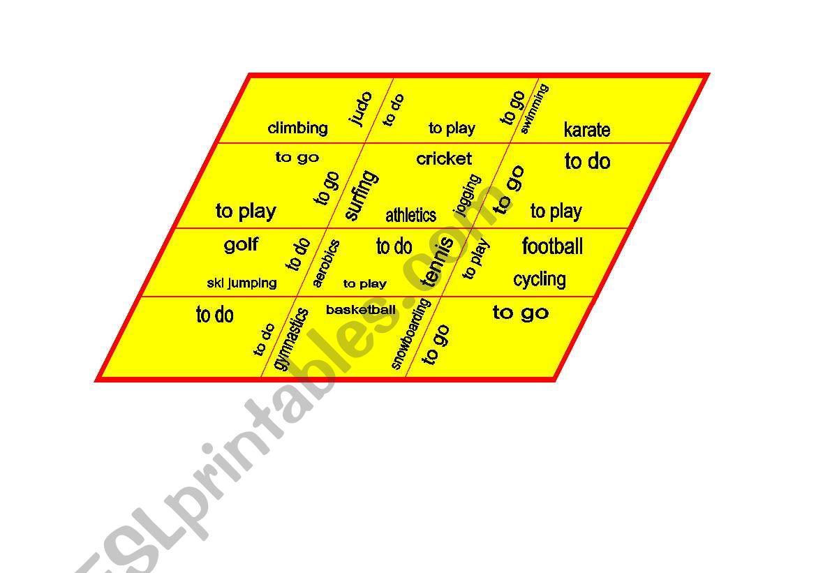 sports trimino puzzle worksheet