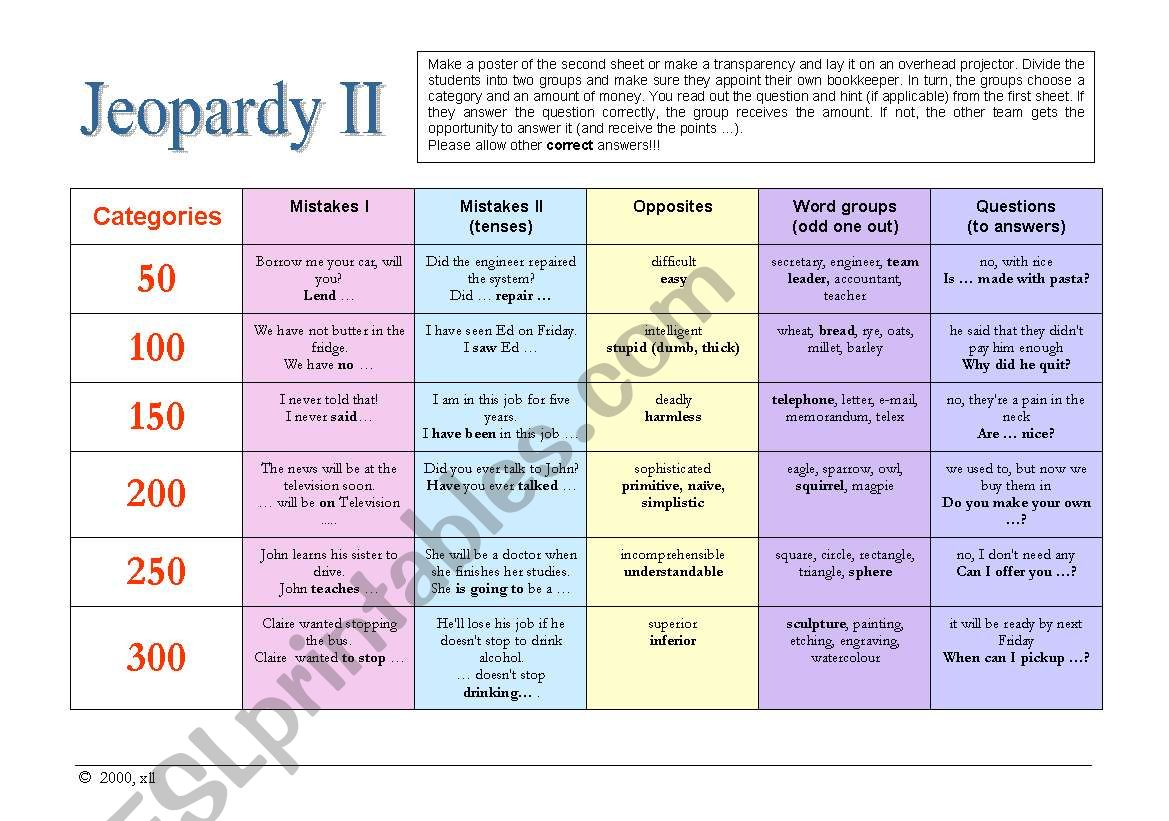 Jeopardy II - General English worksheet