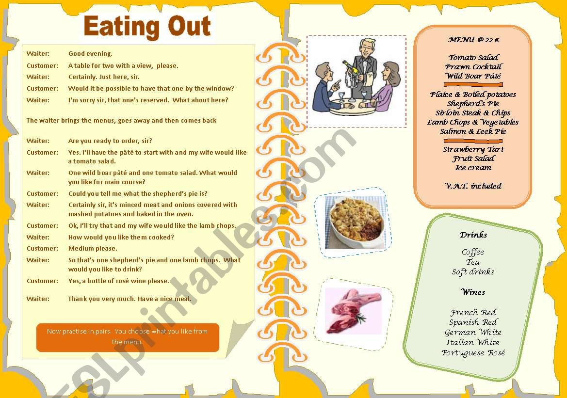 Eating out - menu - dialogue worksheet