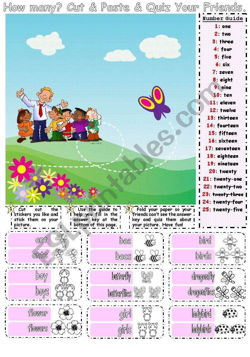 How Many Cut & Paste & Speaking Activity for Younger Learners 1/2