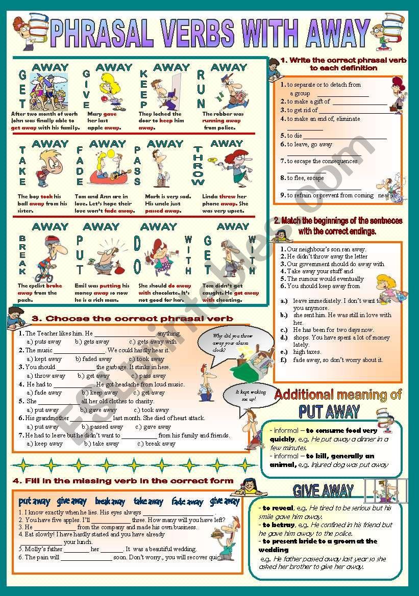 Phrasal verbs with away worksheet