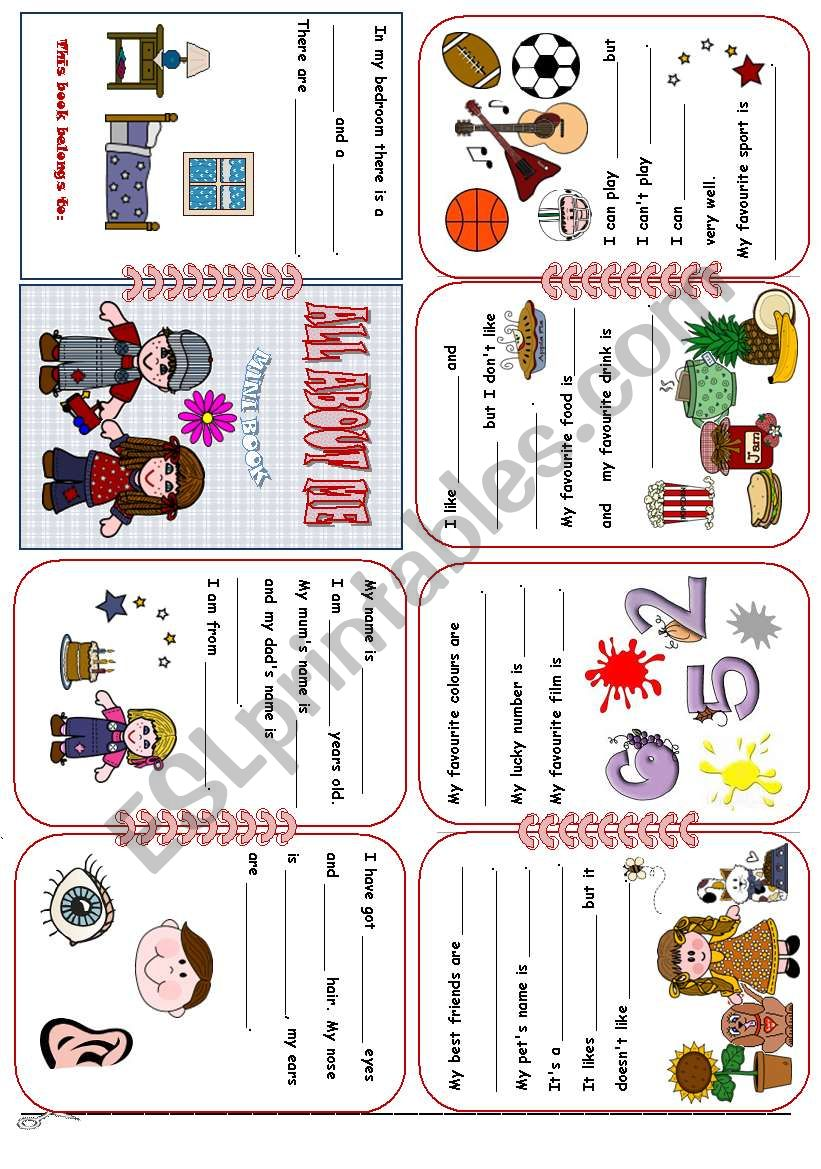 All About Me Mini Book worksheet