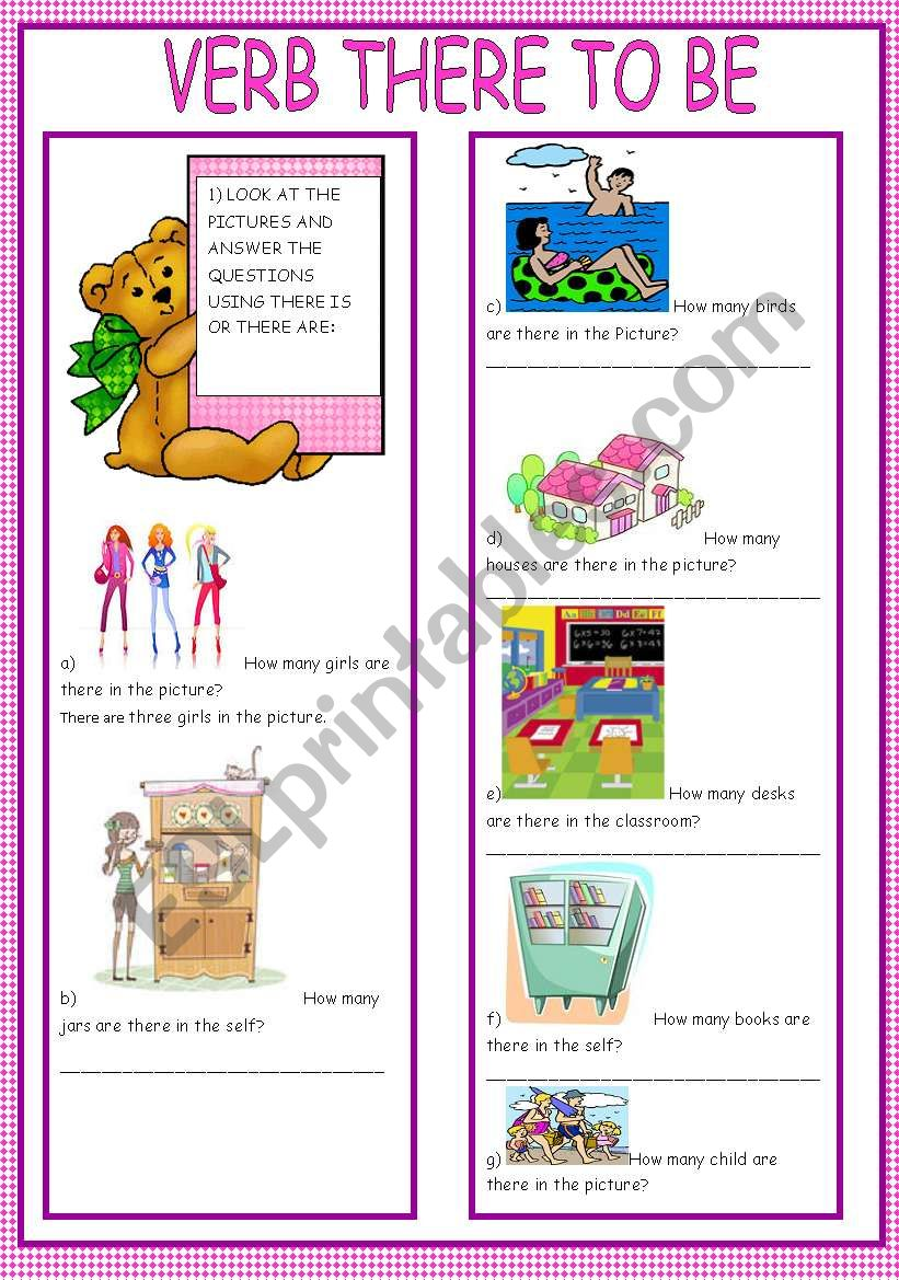VERB THERE TO BE worksheet