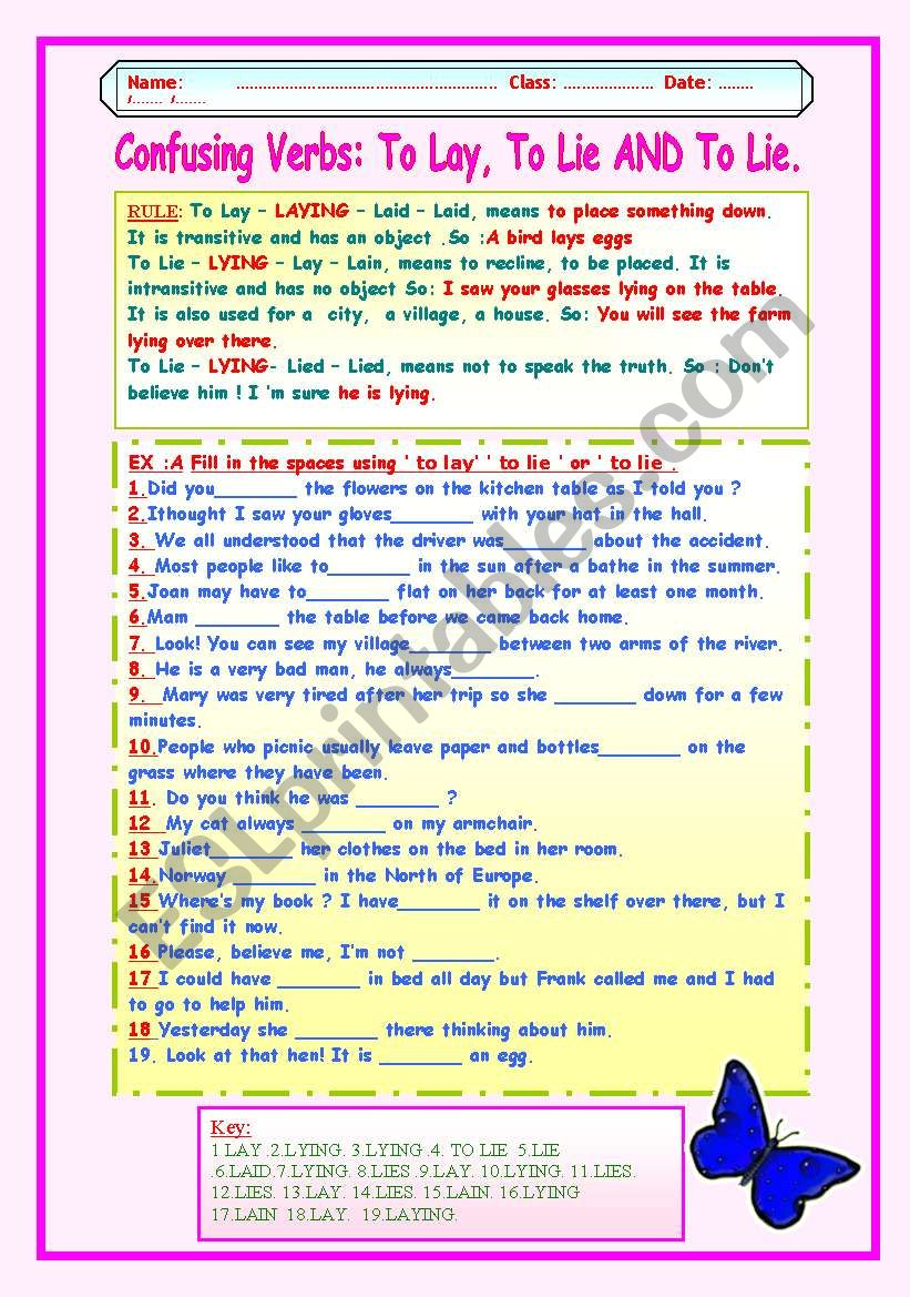 Confusing Verbs To Lay To Lie And To Lie Esl Worksheet By Lucetta06