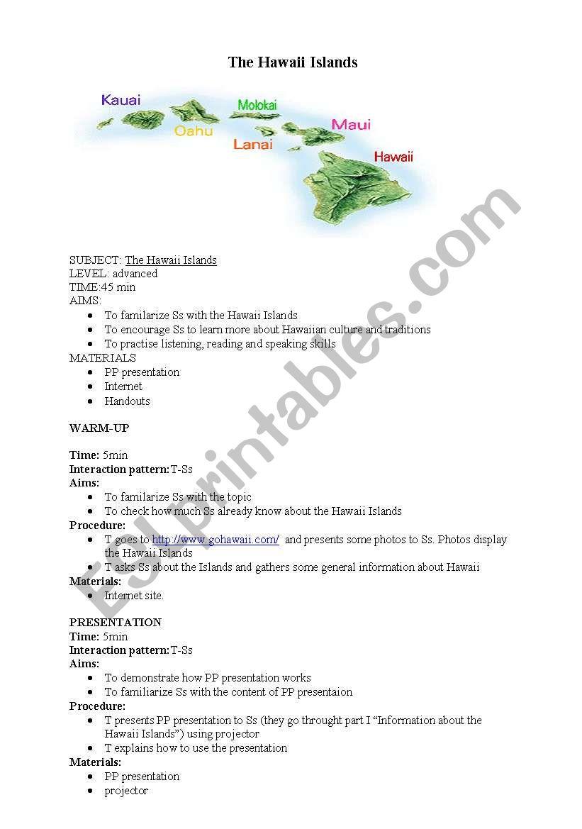 worksheet Hawaii Worksheets english worksheets the hawaii islands worksheet