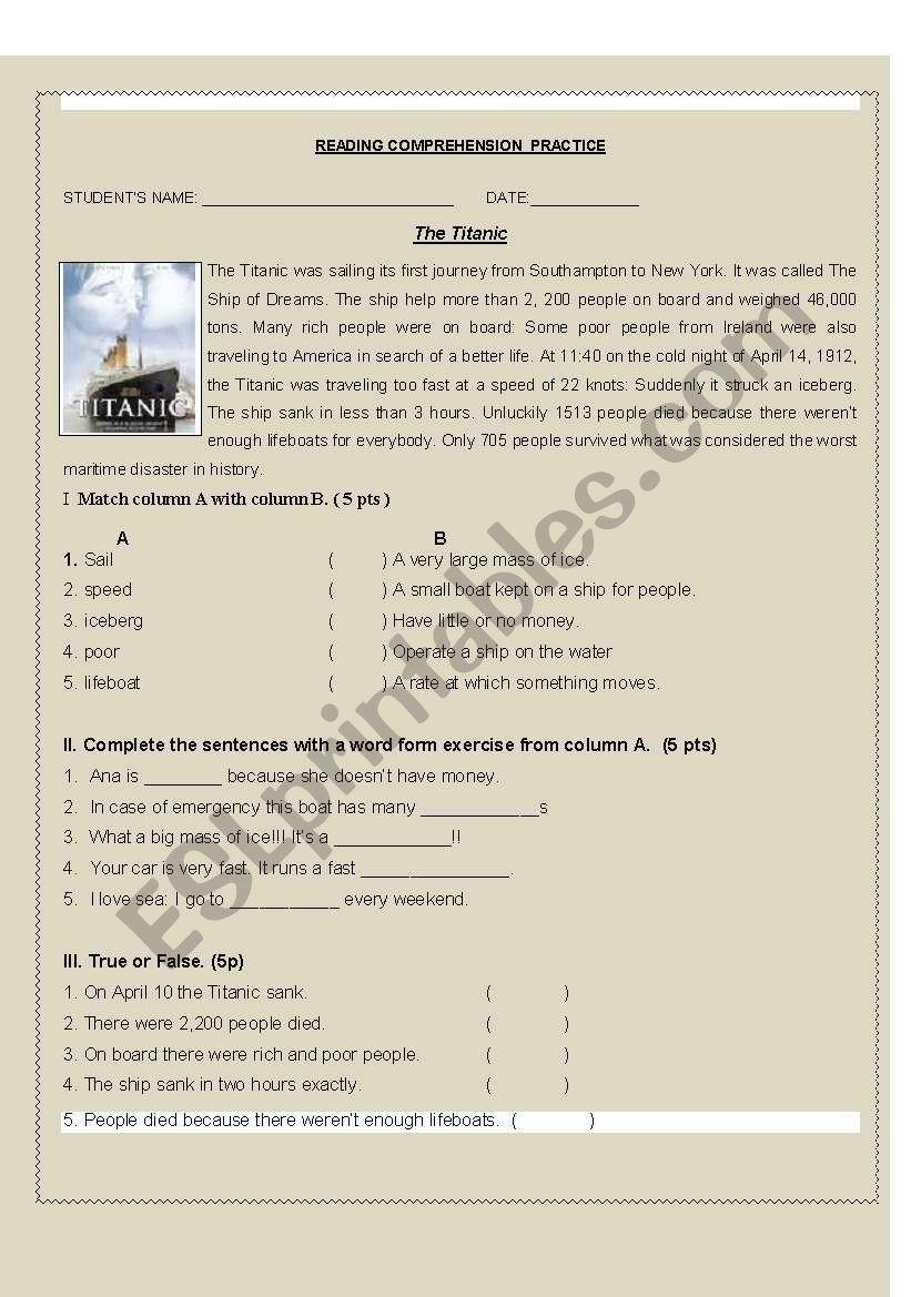 Titanic  worksheet