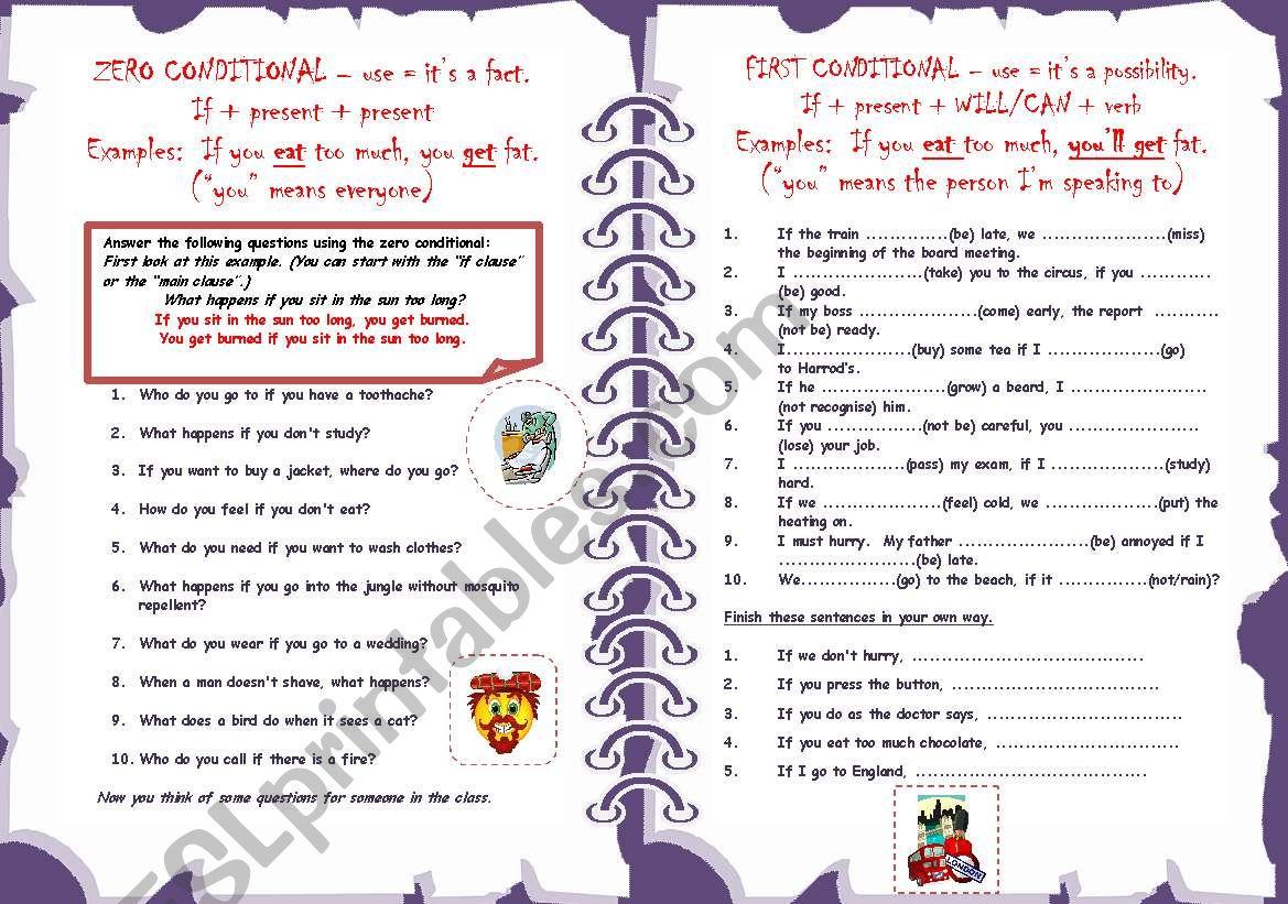 Zero & First Conditionals 1/2 worksheet