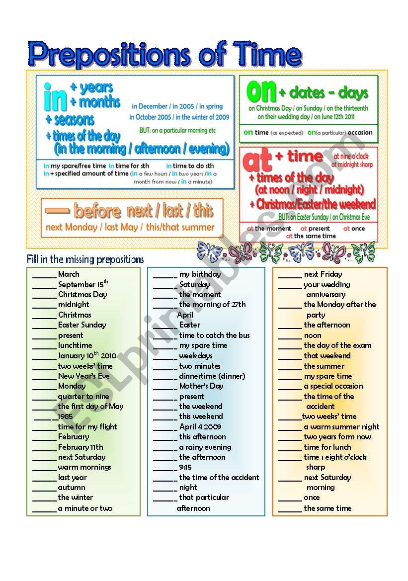 In-On-At Time Prepositions worksheet