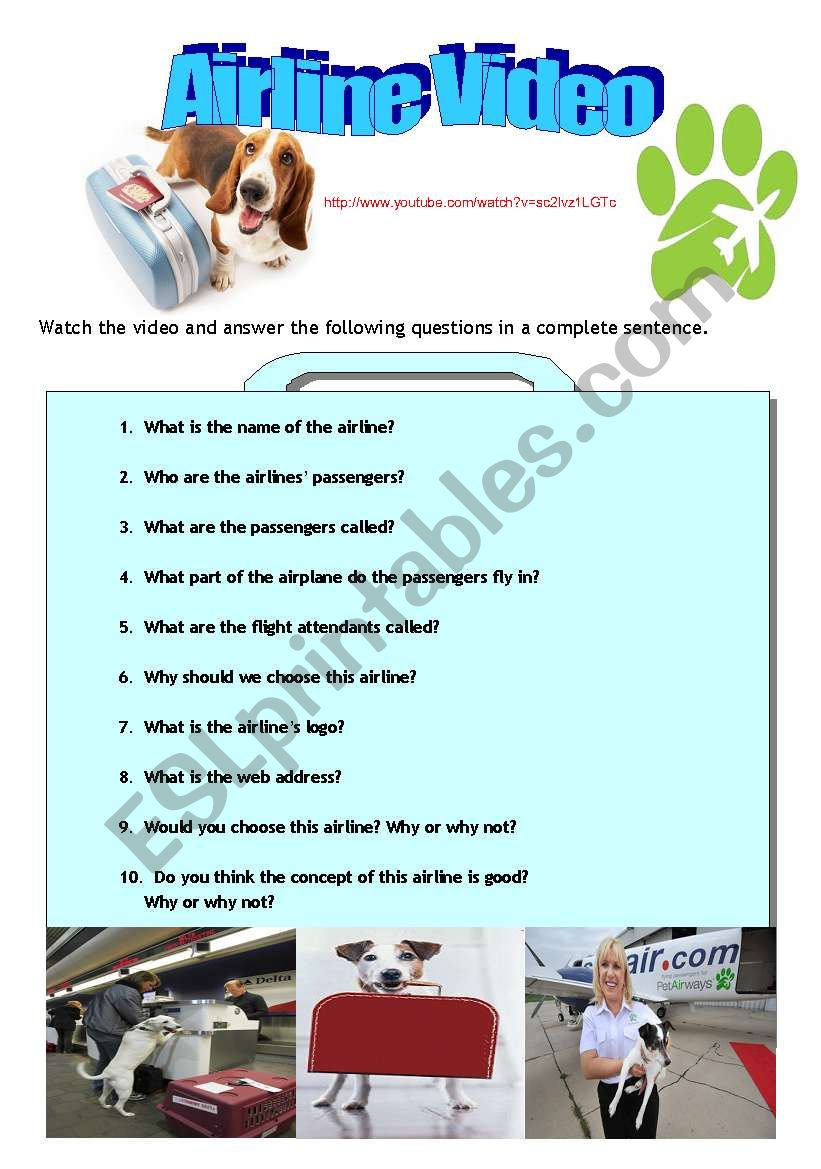 Pet Airways- A listening and speaking activity. ( answers included)