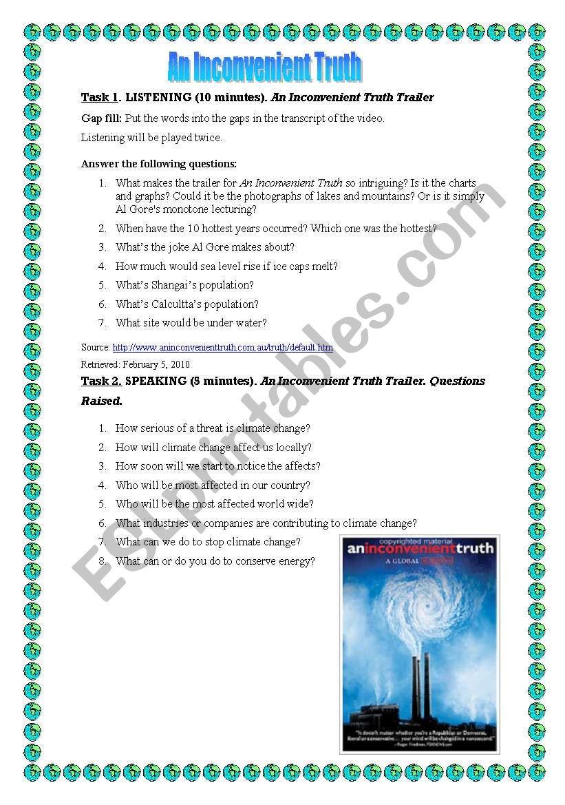 Worksheets An Inconvenient Truth Worksheet Answers an inconvenient truth esl worksheet by ayshr worksheet