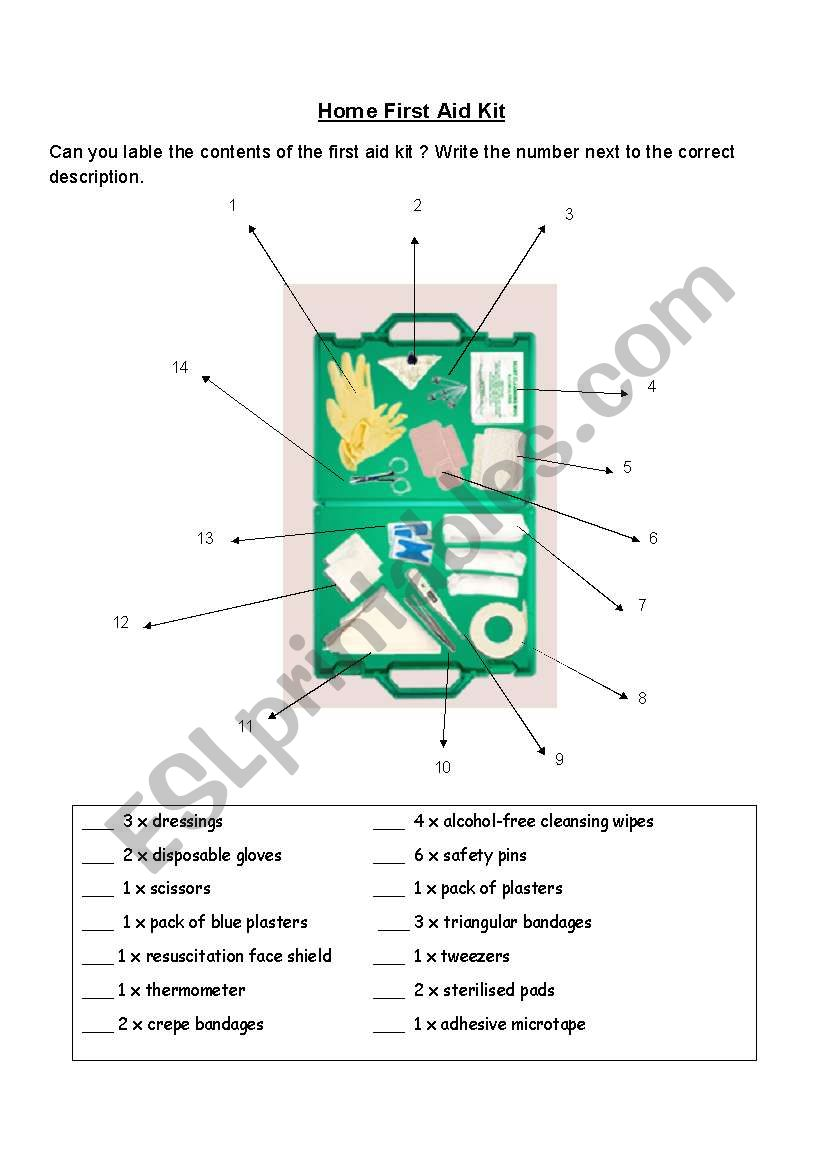 English Worksheets First Aid Kit