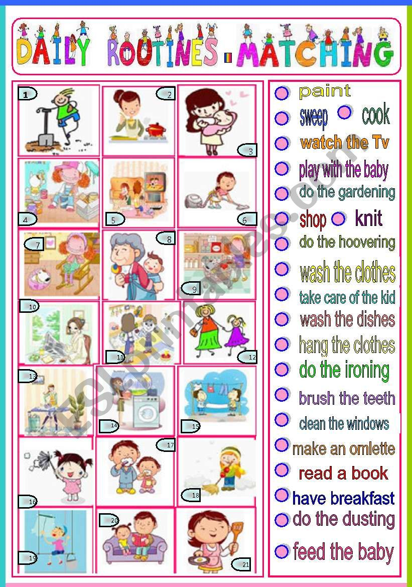 daily routines - matching worksheet