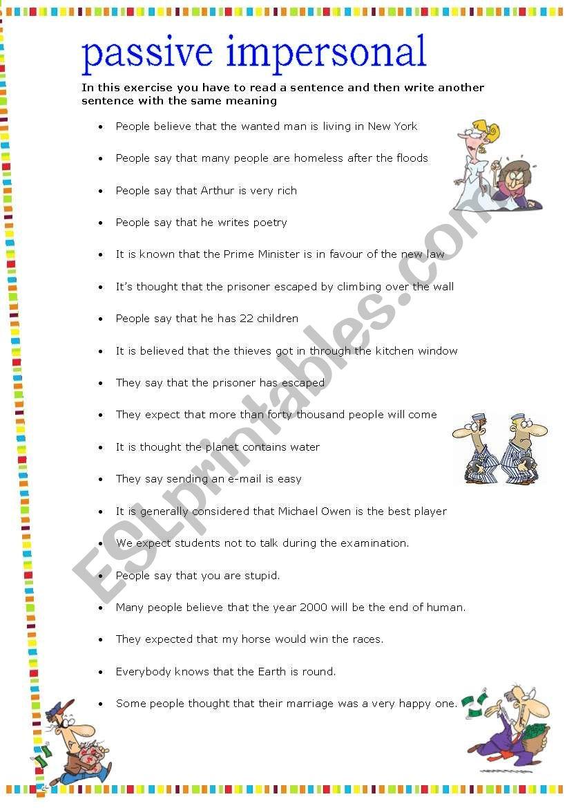 PASSIVE IMPERSONAL worksheet