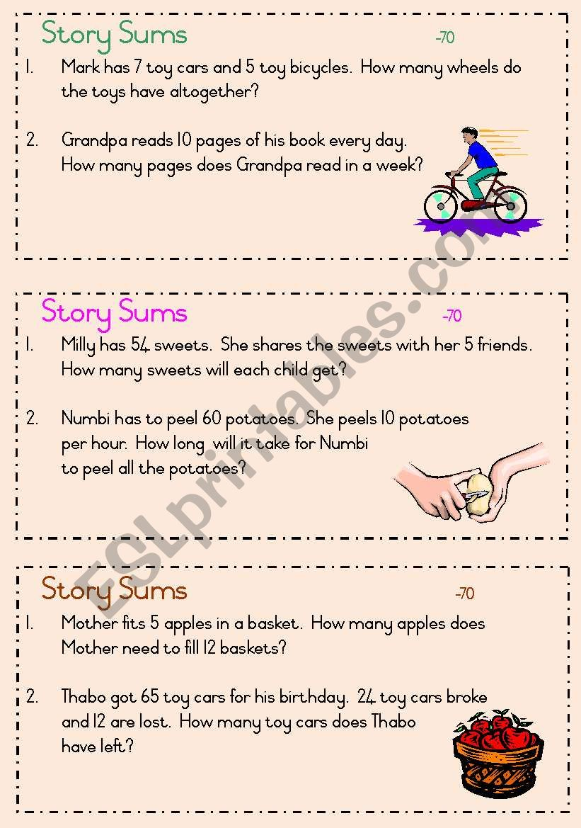 Story sums - answers under 70 worksheet