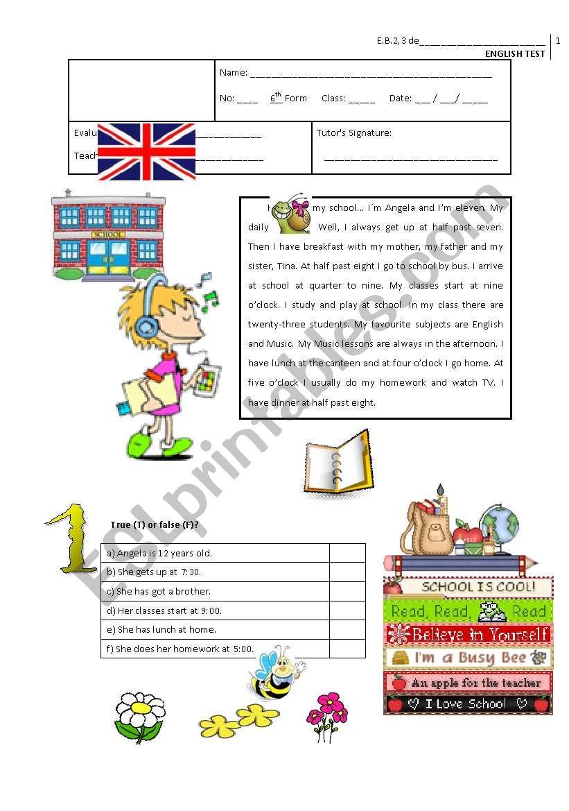 Test - 6th Grade worksheet