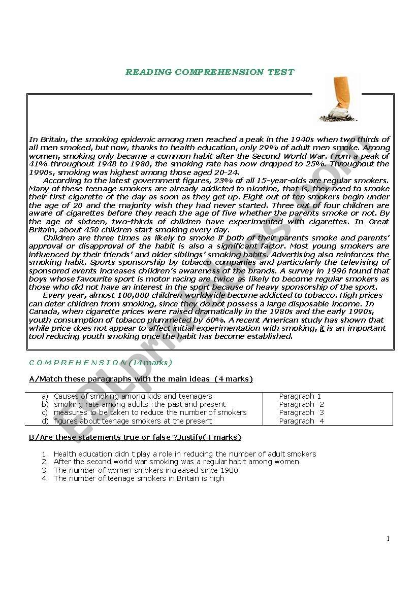 - Reading Comprehension Test About Smoking - ESL Worksheet By Lockman