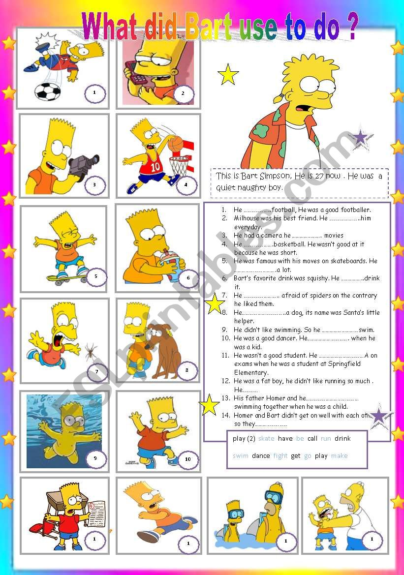 What did Bart use to do  ? worksheet