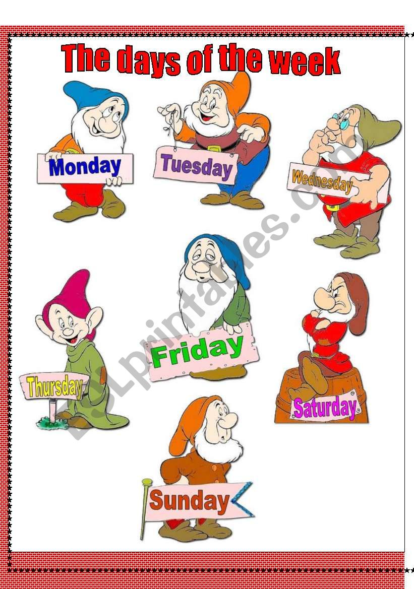 The days of the week with the seven dwarves-classroom poster+ten activities