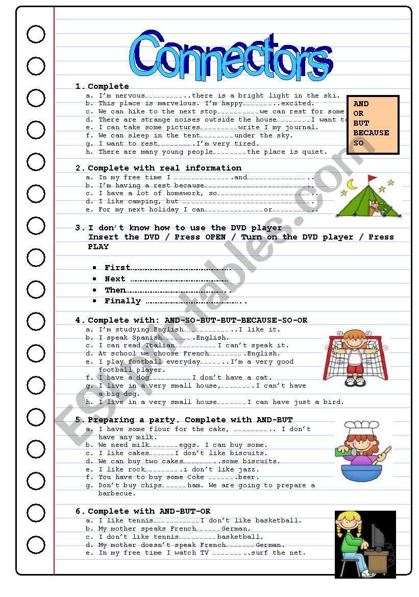 CONECTORS worksheet