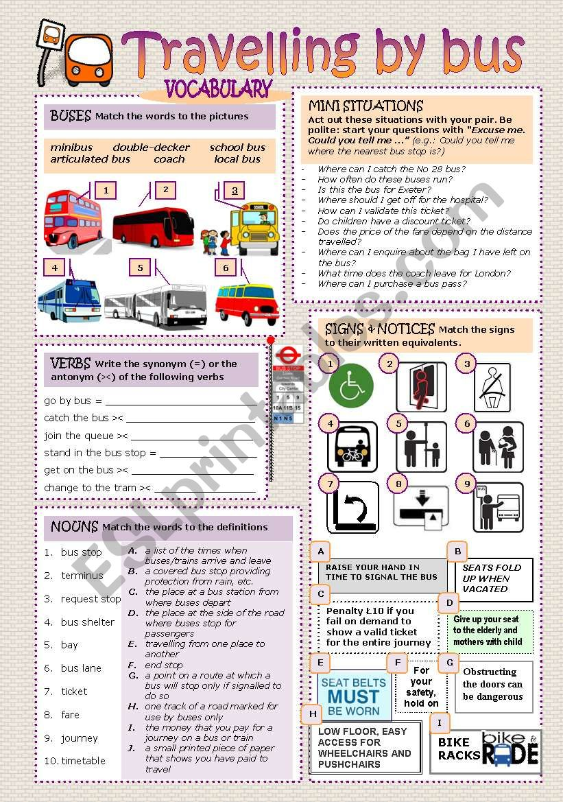 TRAVELLING BY BUS worksheet